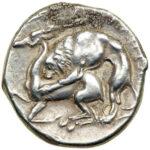 Серебряная монета Дидрахма Древней Греции