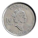 Серебряная монета 10 Центов Канады
