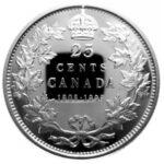 Серебряная монета 25 Центов Канады