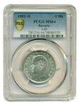 Серебряная монета 2 Марки (2 Mark) Германии в слабе